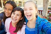 stock photo of tweenie  - Group Of Girls Hanging Out In Mall Together - JPG