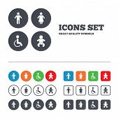 stock photo of handicapped  - WC toilet icons - JPG