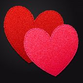 pic of two hearts  - Two bright empty fabric hearts pink and red vector textured decoration hearts on a dark background template card for Saint Valentine - JPG