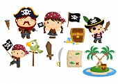 foto of pirates  - a pirate vector set with a pirate crew and tools - JPG