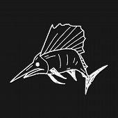 foto of swordfish  - Swordfish Doodle - JPG
