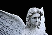 stock photo of angel-trumpet  - face of Christian Angel in forest near church - JPG