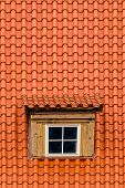 pic of attic  - Orange Rooftile with Old Attic Rooftop Window - JPG