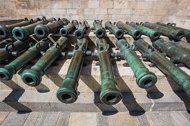 stock photo of cannon  - Ancient artillery Cannons In The Moscow Kremlin Russia - JPG