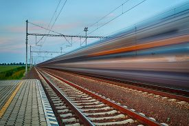 picture of passenger train  - Railroad travel and transportation industry business concept - JPG