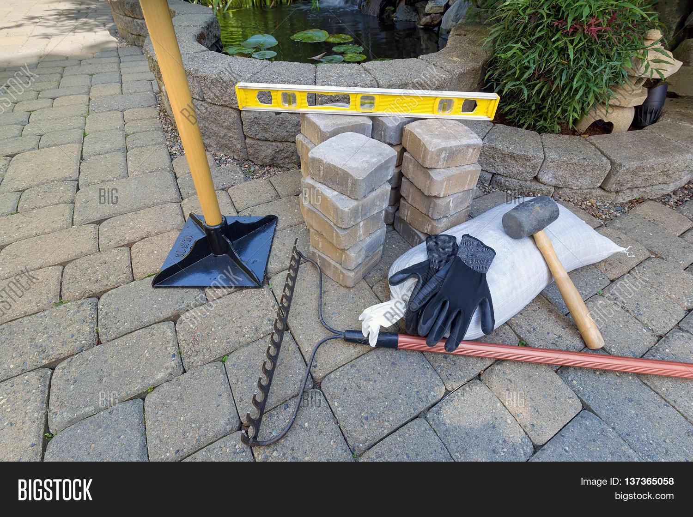 stone pavers backyard patio pond image u0026 photo bigstock