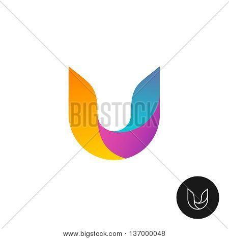Letter U colorful vivid colors logo template