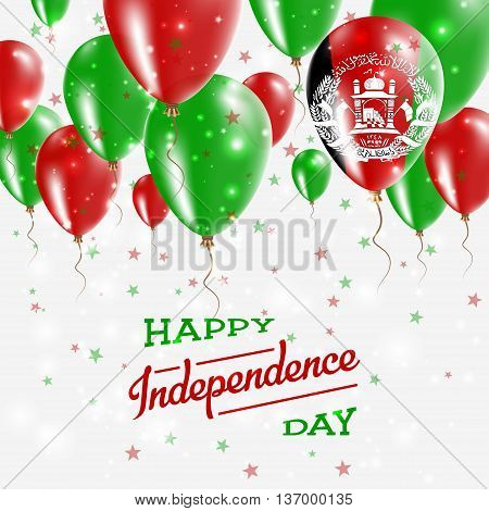 Afghanistan Vector Patriotic Poster. Independence Day Placard With Bright Colorful Balloons Of Count