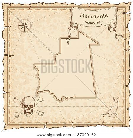 Mauritania Old Pirate Map. Sepia Engraved Template Of Treasure Map. Stylized Pirate Map On Vintage P