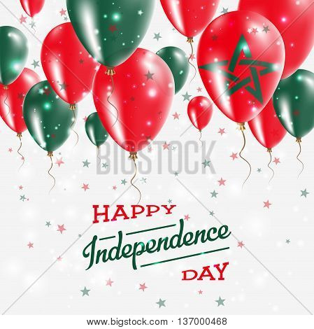 Morocco Vector Patriotic Poster. Independence Day Placard With Bright Colorful Balloons Of Country N