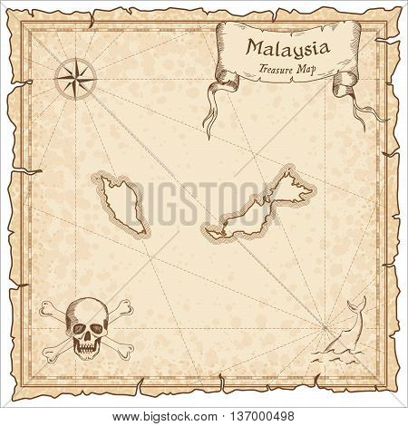 Malaysia Old Pirate Map. Sepia Engraved Template Of Treasure Map. Stylized Pirate Map On Vintage Pap