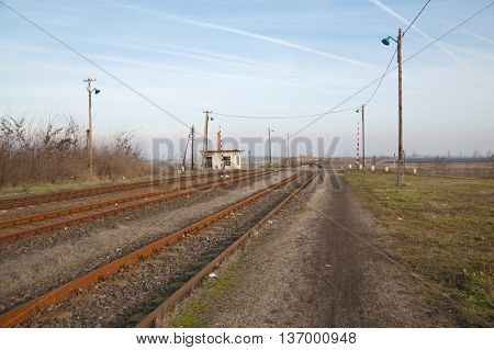 Railway track rusty abandoned place