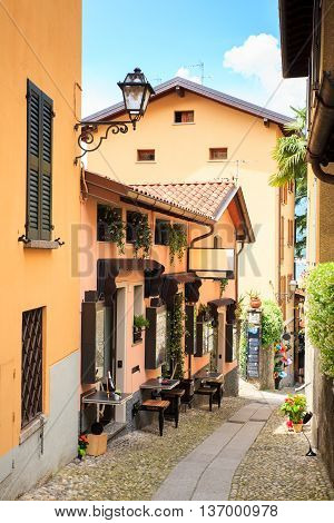 View of picturesque alley in Bellagio Italy