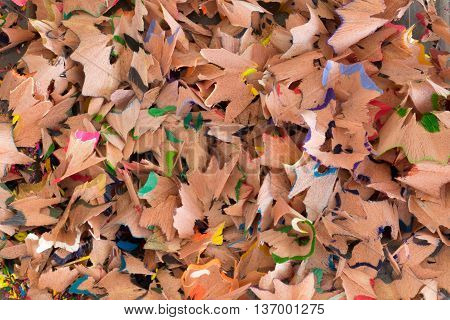 Close up of colorful wooden pencil sharpenings