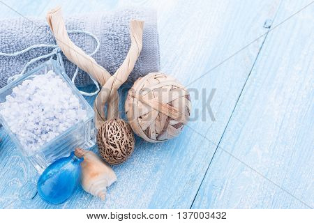Spa stuff with sea salt and shell