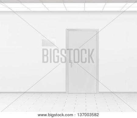 Blank glass name plate design mockup near door 3d render. Door sign mock up template on entry in cabinet. Office hall interior with nameplate on door. Clear closed door signage plate. Room signplate