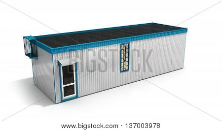 Big Construction Trailer Isolated On White 3D Render