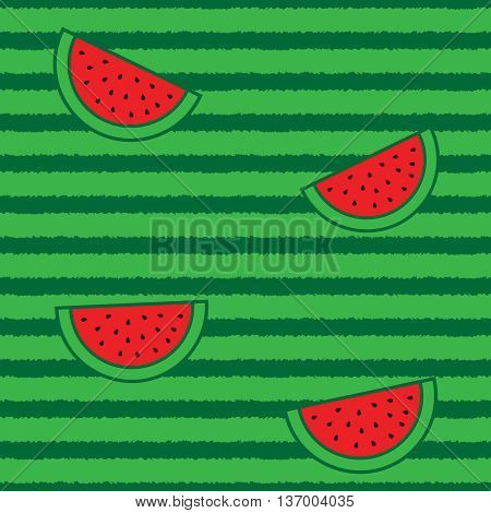 Watermelon halа slices and peel seamless pattern