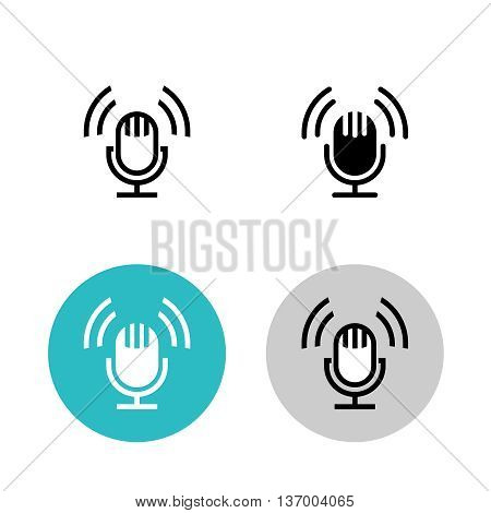 Podcast icon set. Black studio table microphone with sound broadcast waves symbols. Webcast audio record concept logo.