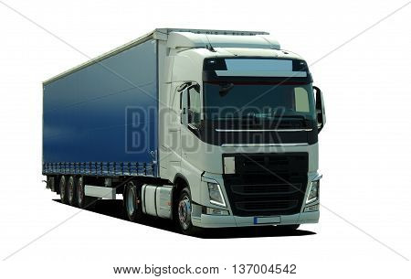 large truck with semi trailer on a white background
