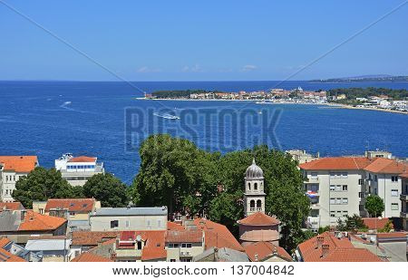 The skyline of the Croatian city of Zadar located on the coast in the Dalmatian region