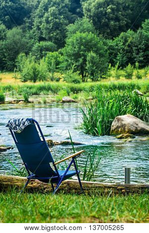 chair for camping on the river Bank camping