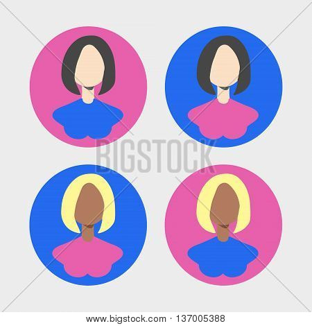 Icons of the round form with the image of girls