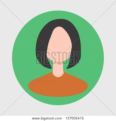 Icon round shape with the image of a girl on a green background.