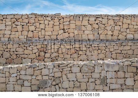 Limestone layered, rough dry stone wall, under a blue sky.