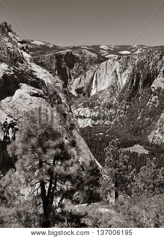 Waterfalls in Yosemite National Park in California black and white