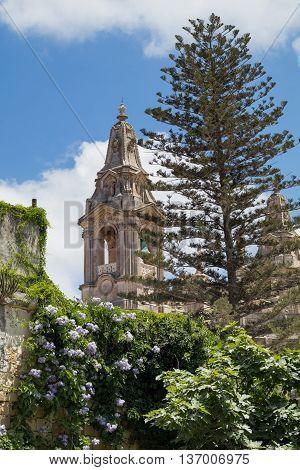 Naxxar parish church, viewed from Palazzo Parisio, Naxxar, Malta, Europe.  June 2016.