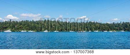 Boats are anchored on Lake Washington near Seattle.