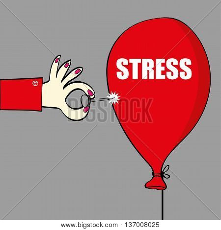 Relief from stress concept with a hand holding a sharp pin or needle about to burst a red balloon with the word stress on it in white text