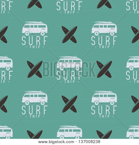 Surfing trip pattern design. Summer seamless with surfer van, surfboards. Monochrome combi car. Vector illustration. Use for fabric printing, web projects, t-shirts or tee designs. Retro colors.