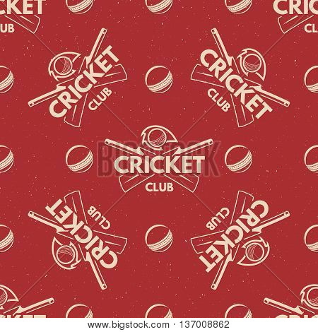 Sport pattern. Cricket retro background. Seamless pattern of cricket accessories. Bat ball symbols. With typography elements. Pattern for design, web, backdrop, tee design, t shirt etc. Vector.