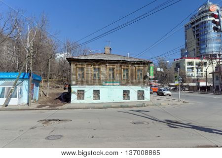 Nizhny Novgorod Russia. - April 07.2016. Old wooden residential two-story house on the street Kovalikhinskaya 100