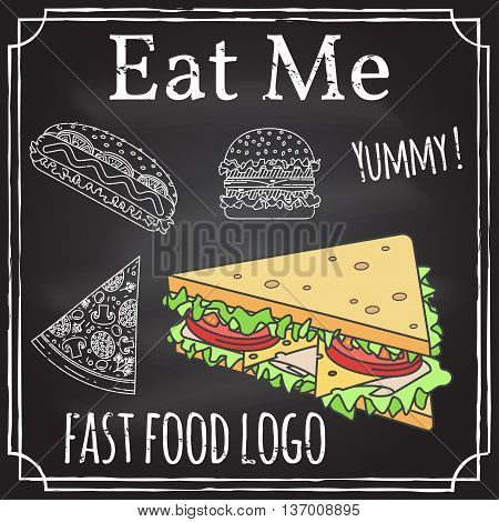 Eat Me. Elements On The Theme Of The Restaurant Business. Chalk Drawing On A Blackboard. Logo, Brand