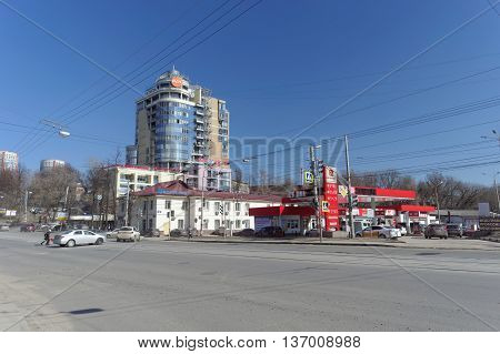 Nizhny Novgorod Russia. - April 07.2016. Filling station and high-rise office complex on the street Maxim Gorky