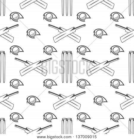 Sport pattern. Cricket retro background. Seamless pattern of cricket accessories. Bat ball symbols. Pattern for design, web, backdrop, tee design, t shirt etc. Vector.