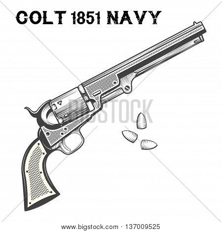 The Colt Revolving Belt Pistol of Naval Caliber, known as the Colt 1851 Navy or Navy Revolver with bullets on white background, Line Art, vector