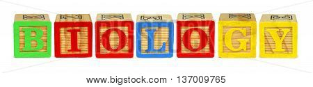 Wooden Toy Letter Blocks Spelling Biology Isolated On White