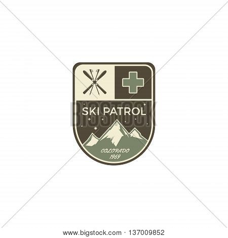 Ski patrol Label. Vintage Mountain winter camp explorer badge. Outdoor adventure logo design. Travel logotype and hipster color insignia with wilderness gear. Retro emblem and stamp. Vector