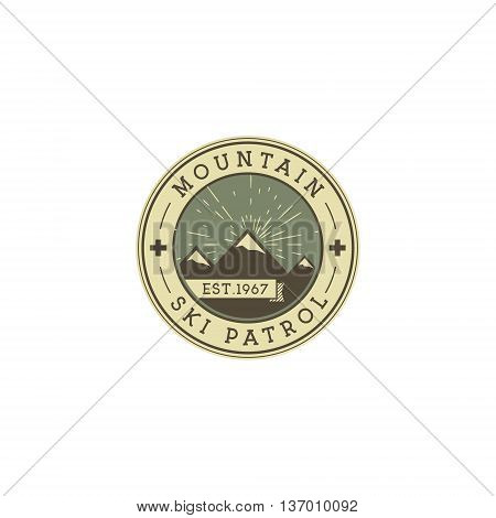 Camping Label. Vintage Mountain ski patrol patch. Outdoor adventure logo design. Travel retro and hipster color insignia. Adventure badge design. Wilderness emblem and stamp. Vector