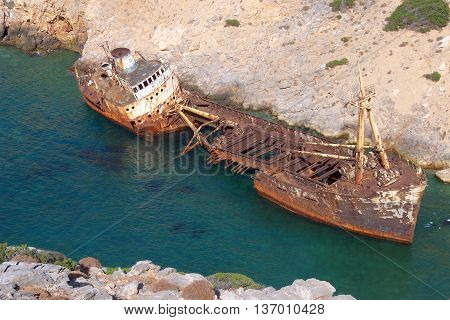 Old ship wreck in Amorgos, Cyclades, Greece