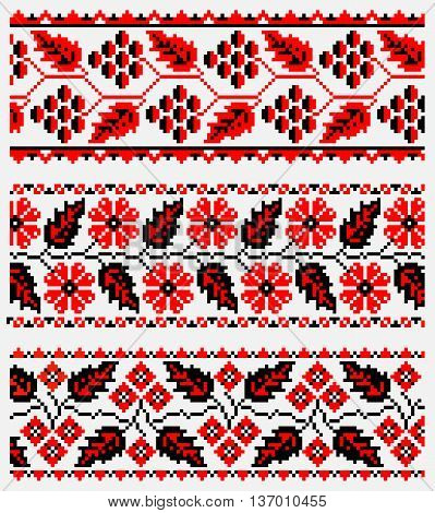 ethnic patterns for embroidery stitch in red and black