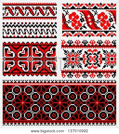 ethnic patterns for embroidery traditional stitch in red and black