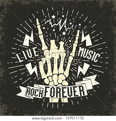 Grunge Monochrome Rock music print, hipster vintage label, graphic design with grunge effect, rock-music tee print stamp design. t-shirt print lettering artwork, vector