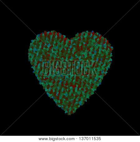 abstract heart with multicolored polygonal mosaic on black background. the concept of love Valentine's day