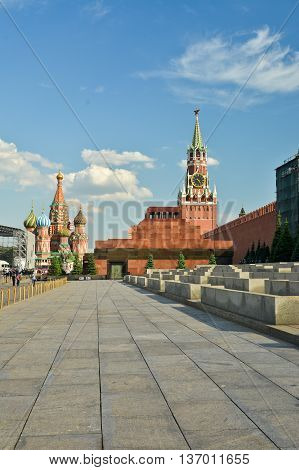 Lenin's Mausoleum. Red Square and Moscow Kremlin.