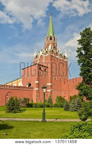 Tower Of The Moscow Kremlin. Tower and part of the wall of the Kremlin on a summer day.